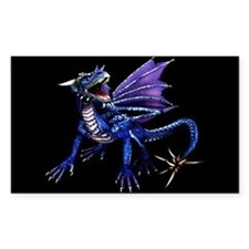 Blue Dragon At Night Rectangle Decal