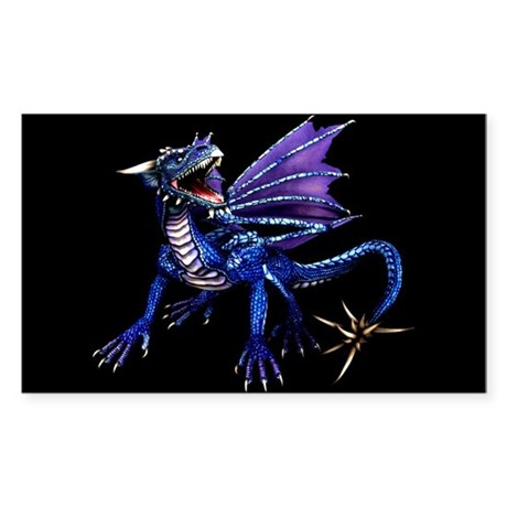 Blue Dragon At Night Rectangle Sticker