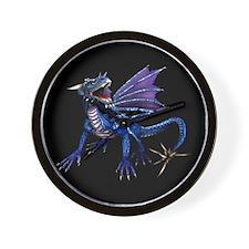 Blue Dragon At Night Wall Clock