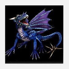 Blue Dragon At Night Tile Coaster