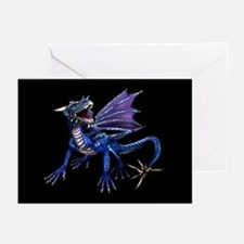 Blue Dragon At Night Greeting Cards (Pk of 10)