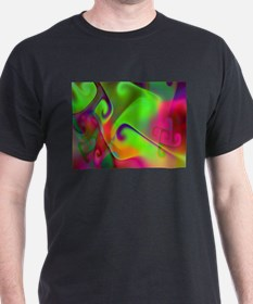 """Luminous 2"" Fractal Art Black T-Shirt"