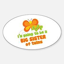 Butterfly Big Sister Twins Oval Sticker (10 pk)