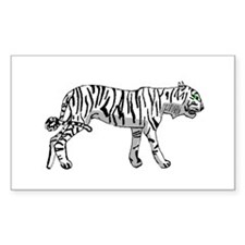 White Tiger Rectangle Decal