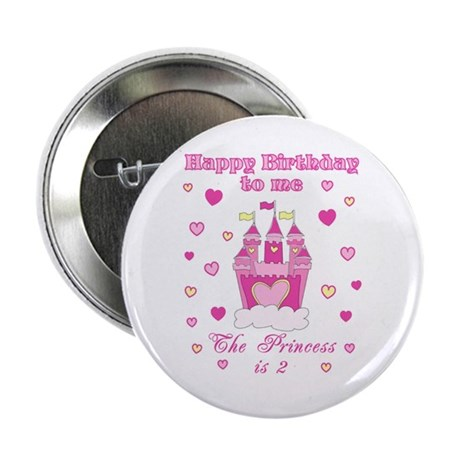 Princess castle 2nd second birthday button badge