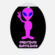 Greetings Earthlings Oval Ornament
