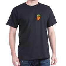 Black T-Shirt with Colored Fruit on pocket