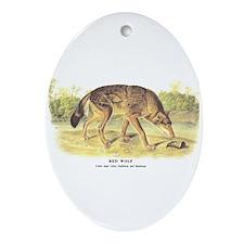Audubon Red Wolf Animal Oval Ornament
