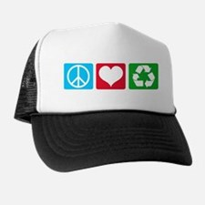 Peace Love Recycle Trucker Hat