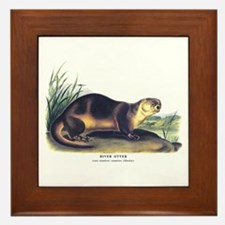 Audubon River Otter Animal Framed Tile