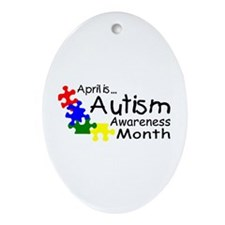 April Is Autism Awareness Month Oval Ornament