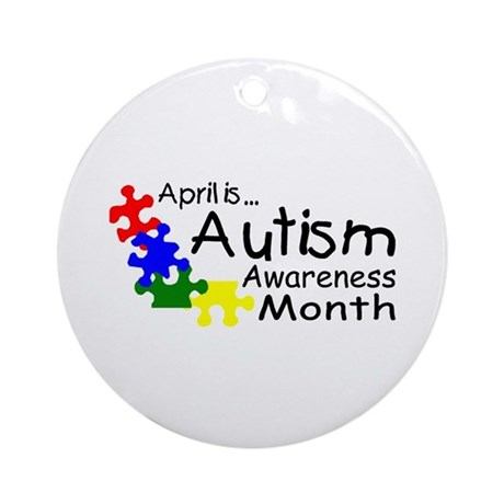 April Is Autism Awareness Month Ornament (Round)
