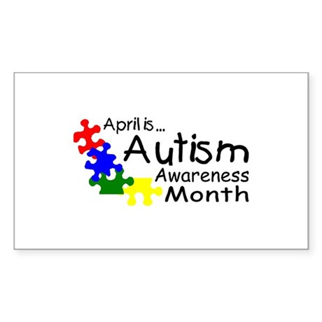April Is Autism Awareness Month Sticker (Rectangle
