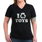I Recycle Toys Women's V-Neck Dark T-Shirt