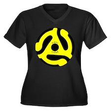 Vinyl Lives Women's Plus Size V-Neck Dark T-Shirt