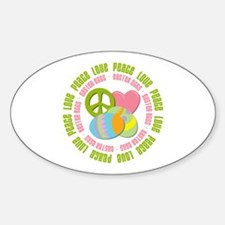 Peace Love Easter Eggs Oval Decal