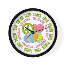 Peace Love Easter Eggs Wall Clock