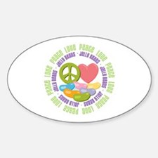 Peace Love Jelly Beans Oval Decal