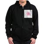 Pink Ribbon -Circle II Zip Hoodie (dark)