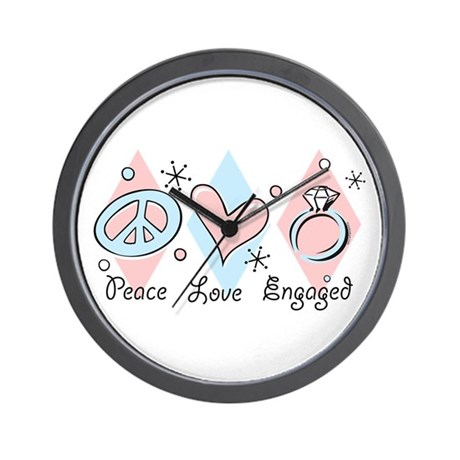 Peace Love Engaged Wall Clock