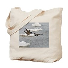 Flying Canadian Geese Tote Bag