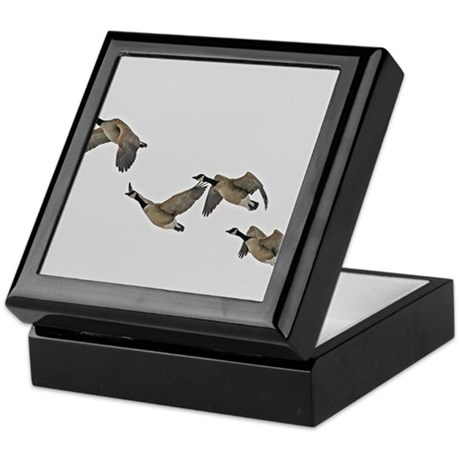 Canadian Geese In Flight Keepsake Box