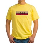 Criminals & Gun Control Yellow T-Shirt