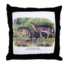 Audubon White-Tailed Deer Throw Pillow