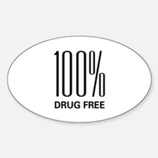 100 Percent Drug Free Oval Decal
