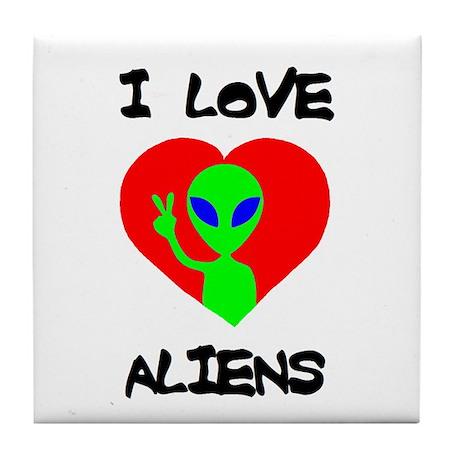 I Love Aliens Tile Coaster