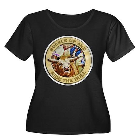 Ride the Bull Women's Plus Size Scoop Neck Dark T-