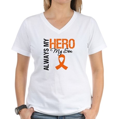Leukemia Hero Son Women's V-Neck T-Shirt