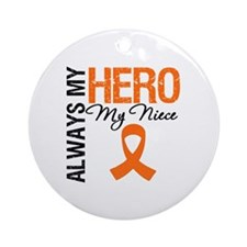 Leukemia Hero Niece Ornament (Round)