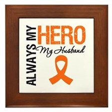 Leukemia Hero Husband Framed Tile