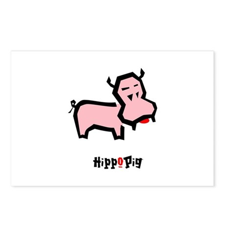 Pink HippoPig Postcards (Package of 8)