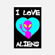 I Love Aliens Rectangle Decal