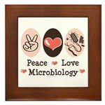 Peace Love Microbiology Framed Tile
