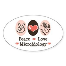 Peace Love Microbiology Oval Decal