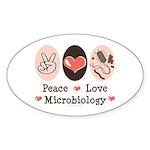 Peace Love Microbiology Oval Sticker