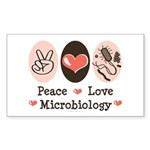 Peace Love Microbiology Rectangle Sticker