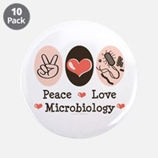 """Peace Love Microbiology 3.5"""" Button (10 pack)"""