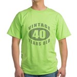 40th Birthday Gifts For Him Green T-Shirt