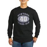 40th Birthday Gifts For Him Long Sleeve Dark T-Shi