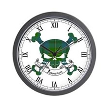 Johnston Tartan Skull Wall Clock