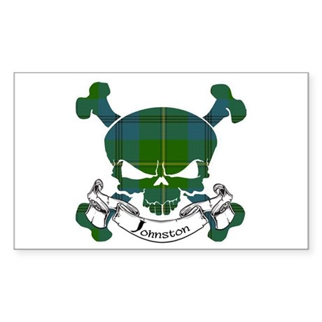 Johnston Tartan Skull Sticker (Rectangle)