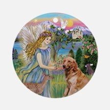 Golden Retriever & Angel Keepsake (Round)