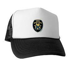 Thin Blue Line Ribbon Shield Trucker Hat