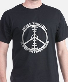 Peace Through Superior Firepo Black T-Shirt