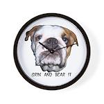 GRIN AND BEAR IT (BULLDOG FACE) Wall Clock