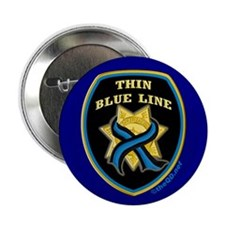 "Thin Blue Line Ribbon Shield 2.25"" Button"